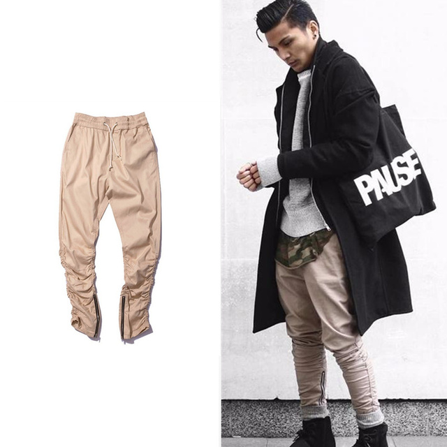 HOT army Pants Casual Skinny Zipper botton Sweatpants Solid Hip Hop high street Trousers Pants Men Joggers Slimming pants