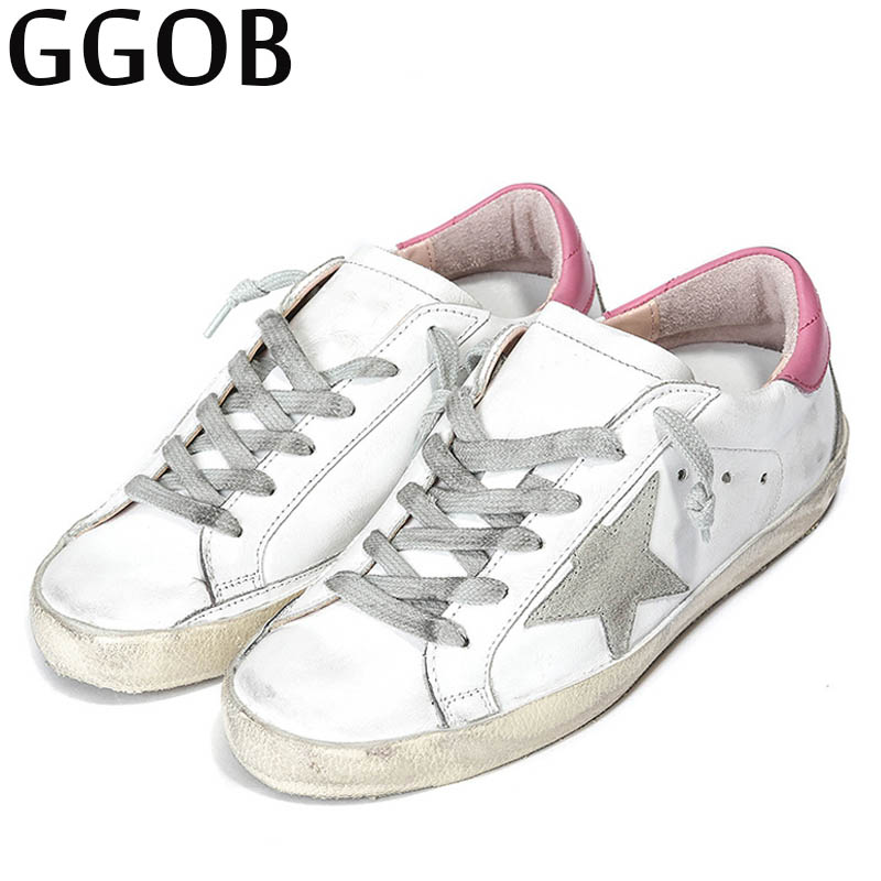 GGOB Womens Flats Do old Girl Casual Shoes Classics Woman Brand Plus Size Genuine Leather Outdoor Walking Flat With Cow Leather ggob womens sandals platform casual shoes outdoor walking classics fashion element hairy slippers flat sandals ladies white