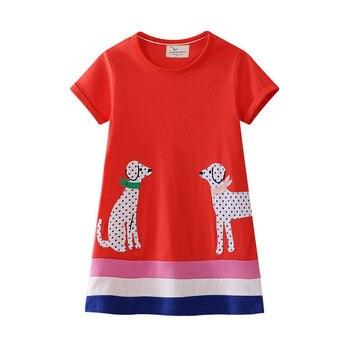 Повседневные модные летние платья трапециевидной формы с круглым вырезом и короткими рукавами для девочек; уличные платья из 100% хлопка