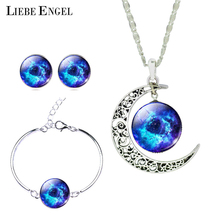 LIEBE ENGEL Newest Silver Color Jewelry Glass Galaxy Jewelry Sets Statement Necklace Stud Earrings Bangles Bracelets For Women