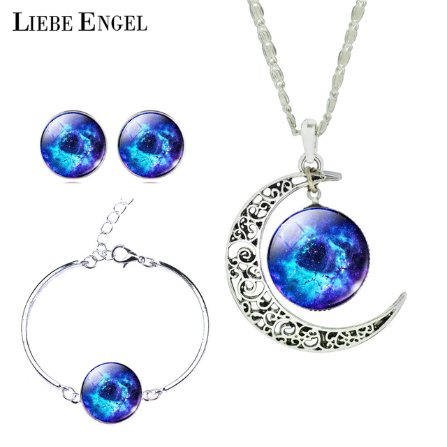 Liebe Engel Newest Silver Color Jewelry Gl Galaxy Sets Statement Necklace Stud Earrings Bangles Bracelets