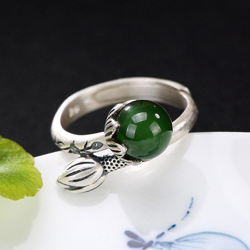 Elegance Lotus Natural Jade Ring For Women Girl 100% 925 Sterling Silver Adjustable Ring Wedding GiftElegance Lotus Natural Jade Ring For Women Girl 100% 925 Sterling Silver Adjustable Ring Wedding Gift