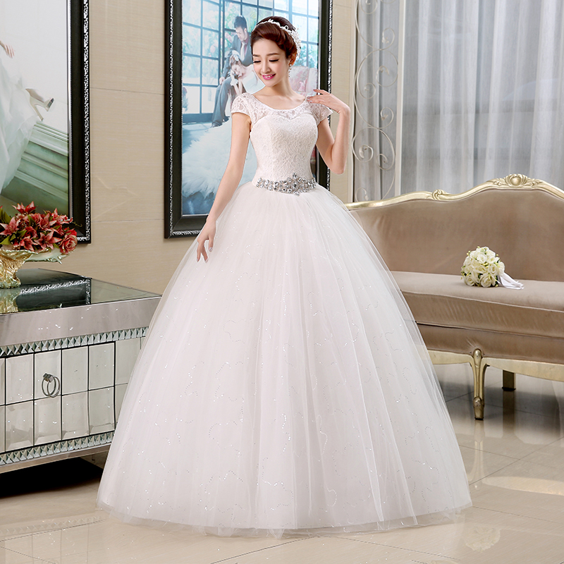 0d6fdba4afe4c US $34.2 5% OFF|Real Photo Free Shipping Vestidos De Novia Red White Lace  Sequins Waist Wedding Dresses Cheap Short Sleeves Bride Frocks HS138-in ...