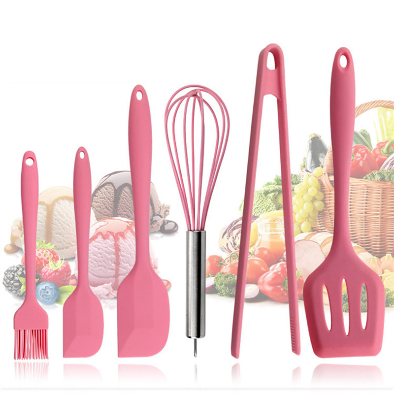 Pink Silicone <font><b>Cookware</b></font> Sets 6 pieces Egg Beater Spoon Clip Spatula Oil Brush kitchenware 6 Dresses kitchen Tools