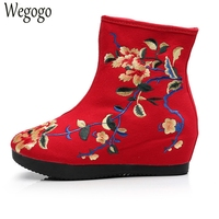 Chinese Women Boots Floral Embroidered Canvas Ladies Zipper Soft National Black Red Single Cloth Boot Warm