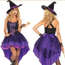 Nova cauda de andorinha saia Bruxa Traje de Halloween para as mulheres  divisão de Código pessoas gordas Sexy Roxo dressAdult Vas. 2f9110ecf5b