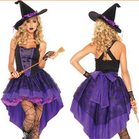 15 Witch Dovetail Skirt Halloween Costume For Women Code Division Fat People Sexy Purple DressAdult Broomstick