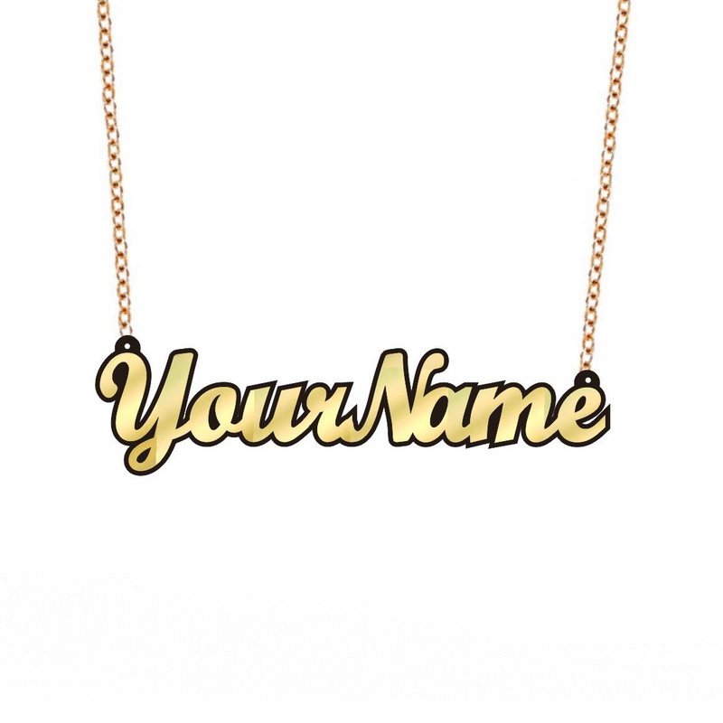 Personalised Name Necklace Custom Made Jewellery Laser Cut Acrylic Gift Kitsch Nameplate Monogram Birthday Girls Glittery
