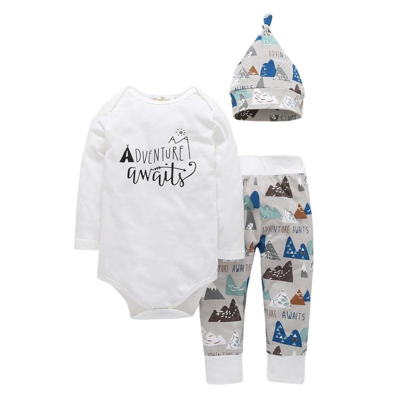 Newborn Baby Clothing Set Cotton Long Sleeve Adventure Awaits  Romper + Cartoon Mountain  Pants Children's Boys Girls Clothing