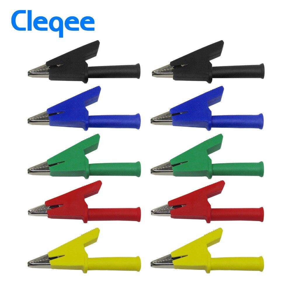Cleqee P2002 10 stücke 5 Farbe 380 v 20A Krokodil Alligator Clips Sicherheit Test ordner Für 4mm Bananen Stecker
