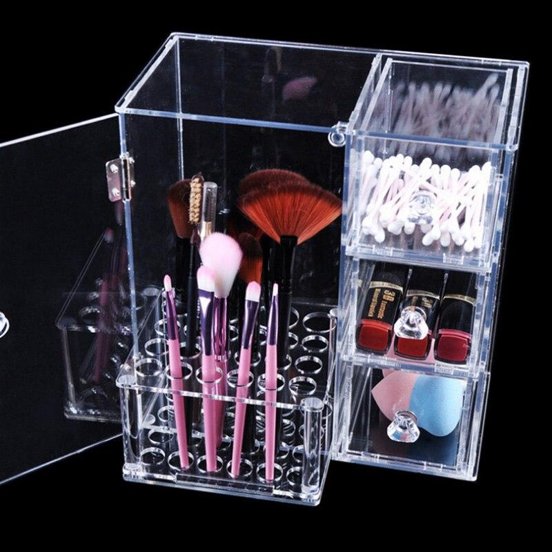 Nouveau Design de mode clair maquillage porte brosse bijoux boîte de rangement 3 tiroir maquillage organisateur cosmétique outil organisateur étagère acrylique-in Boîtes de rangement et bacs from Maison & Animalerie    1