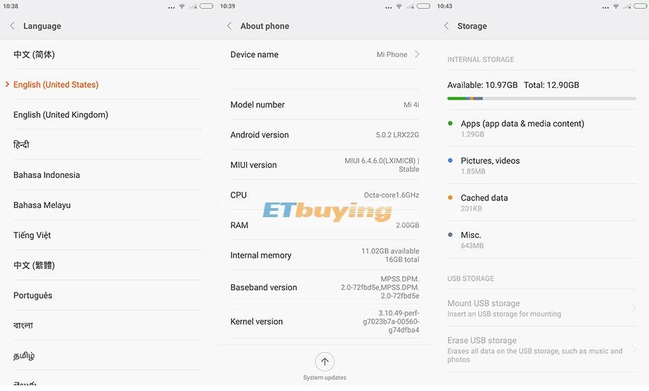 US $229 99 |Original Xiaomi M4i Mi 4i 4G LTE Cell Phone Android 5 0  Snapdragon 615 Octa Core 5