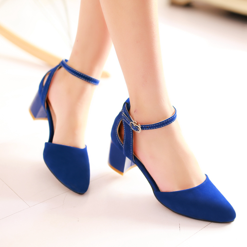 Aliexpress.com : Buy 2014 Ladies Ankle Strap Medium Heel shoes ...
