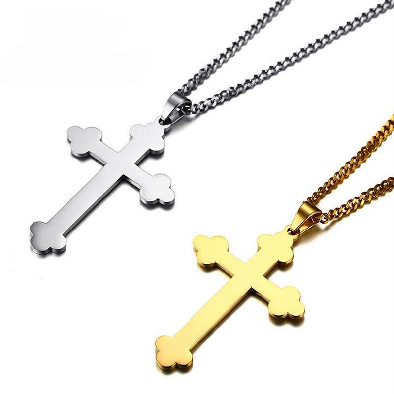 Male Budded Cross Pendant Necklace Silver Gold-Color Stainless Steel Punk Church Men Jewelry Buds  For Women