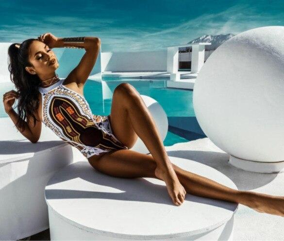 Faerdasi 2018 Women Sexy Bikini Classical Print Swimsuit Swimwear Women Bikini Set Beach Wear Bathing Suits Long Torso Monokini