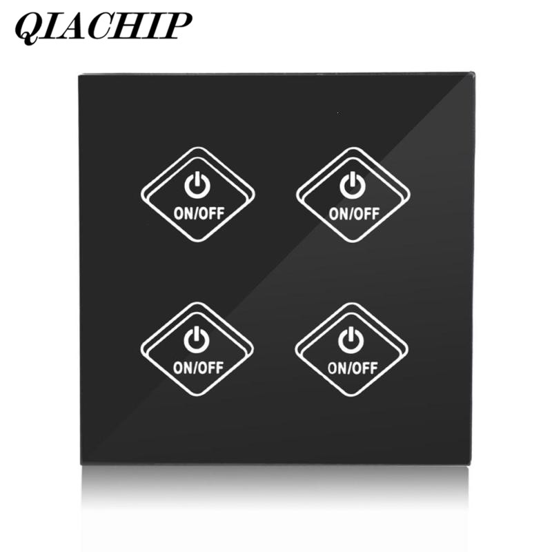 QIACHIP WiFi Smart Switch 4 Gang Light Wall Switch APP Alexa Control Work with Amazon Remote Google Home Supported UK Plug B ewelink us type 2 gang wall light smart switch touch control panel wifi remote control via smart phone work with alexa ewelink