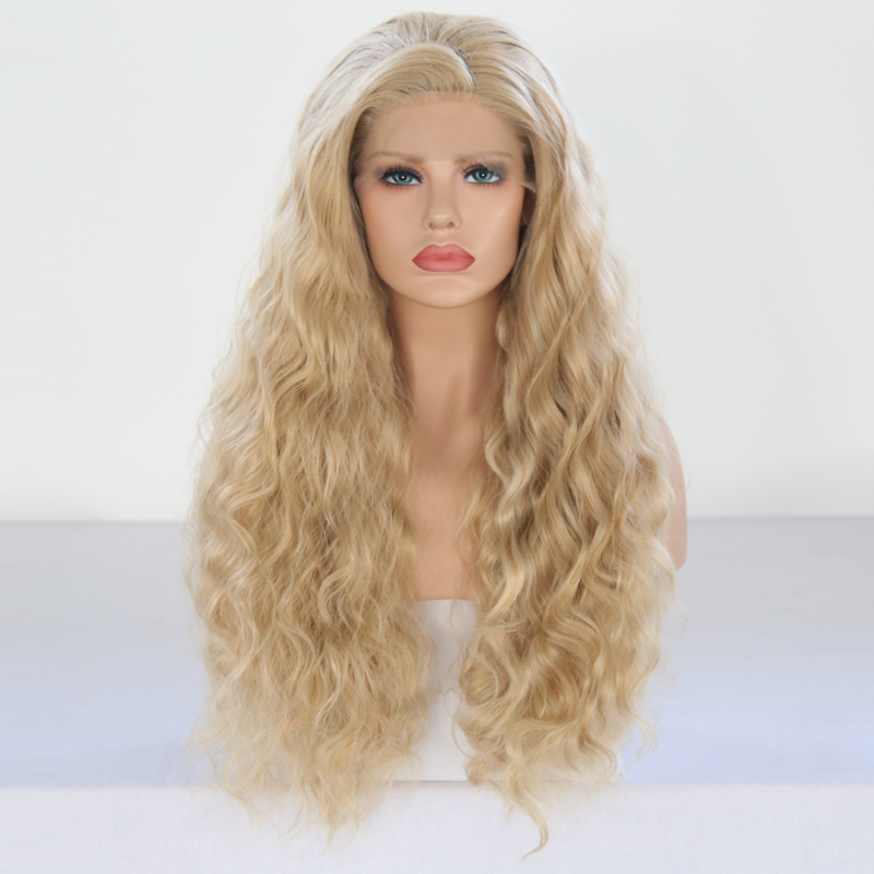 Charisma Hand Tied Blond Wig High Temperature Hair Long Loose Deep Heat Resistant Wigs Glueless Synthetic Lace Front Wig