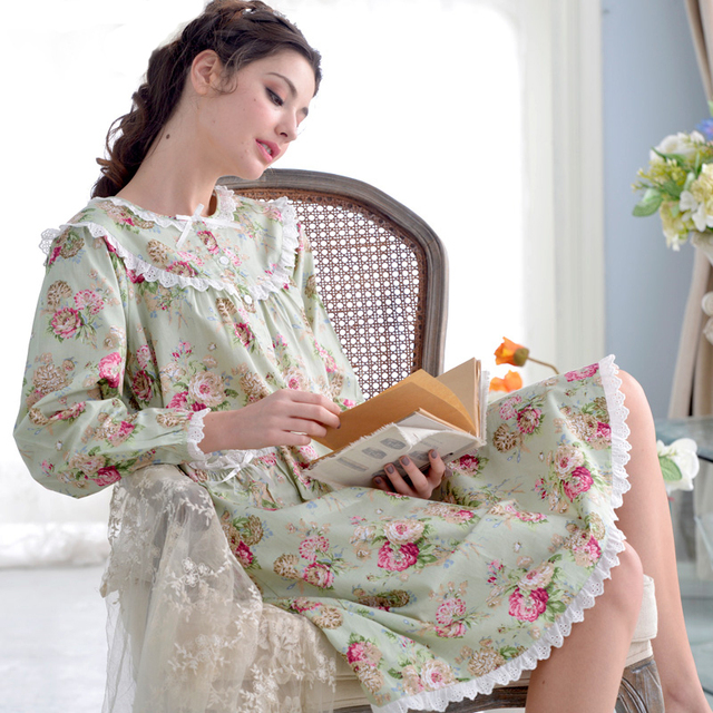 91bf1f7417 Lovely Princess Floral Nightdress Female Full Sleeve Pure Cotton Nightgowns  Lace Flower Knee-length Women