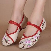 Новые модные женские парусиновые туфли на плоской подошве женская дешевая обувь из коровьей кожи без каблука с цветочной вышивкой в китайском стиле обувь большой Размеры Лоферы обувь для вождения F001