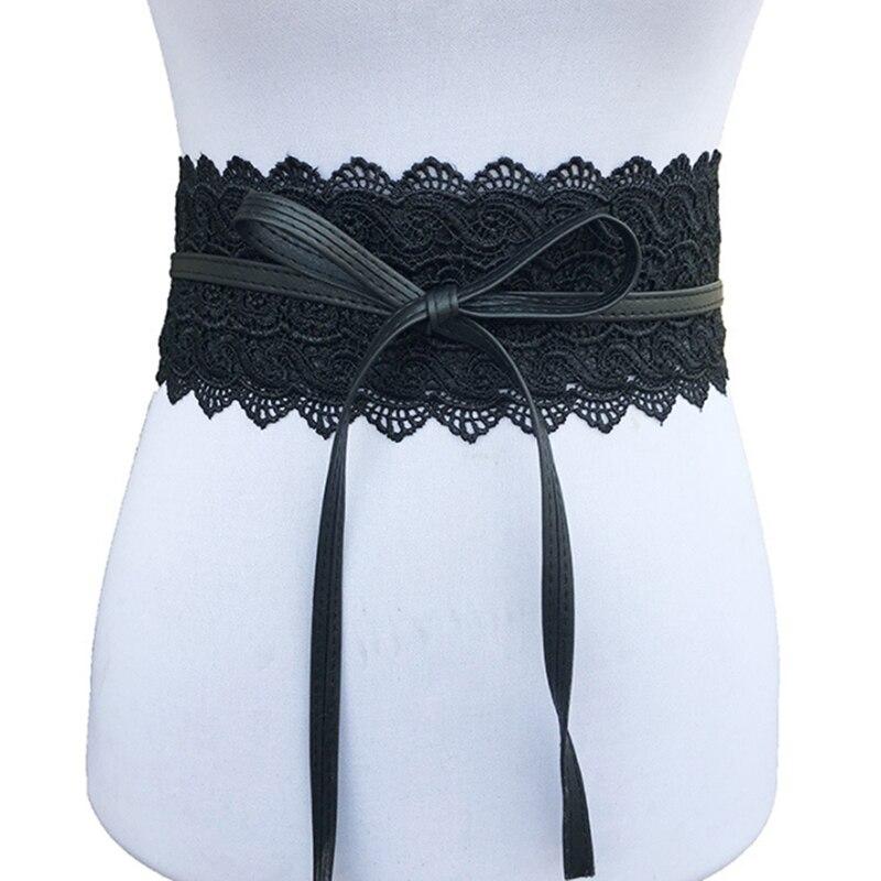 2018 New Black White Wide Corset Hollow Flower Belt Female Self Tie Waistband Belts for Women Wedding Dress Waist Band