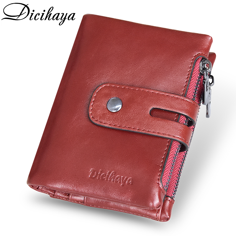 DICIHAYA Genuine Leather Women Wallet Brand Cash Purse Girl Small Red Clutch Coin Purses Holders Leather Double Zipper Wallets