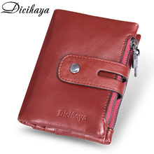 DICIHAYA Genuine Leather Women Wallet Brand Cash Purse Girl Small Red Clutch Coin Purses Holders Double Zipper Wallets