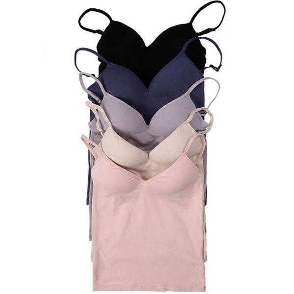Women Adjustable Strap Built In Bra Padded Bra Modal Tank Top Camisole Cami