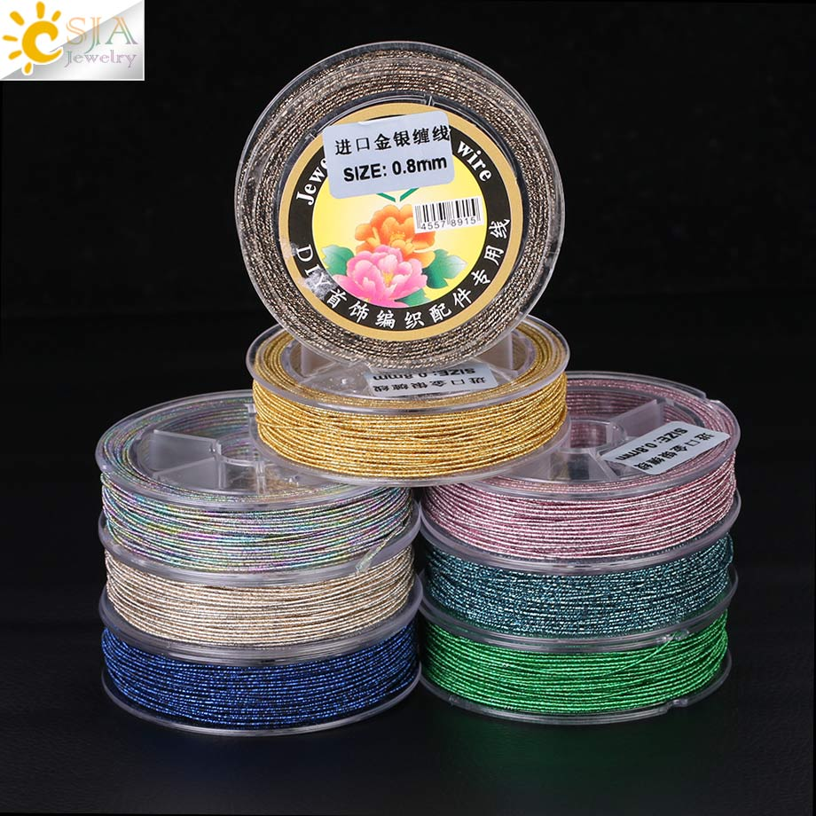 CSJA 1 Roll Jewelry DIY Cord Imported 13 Colors Bling Silver Gold Wrapped String 17.5M Rope Jewellery Make Knit Weave Braid F362
