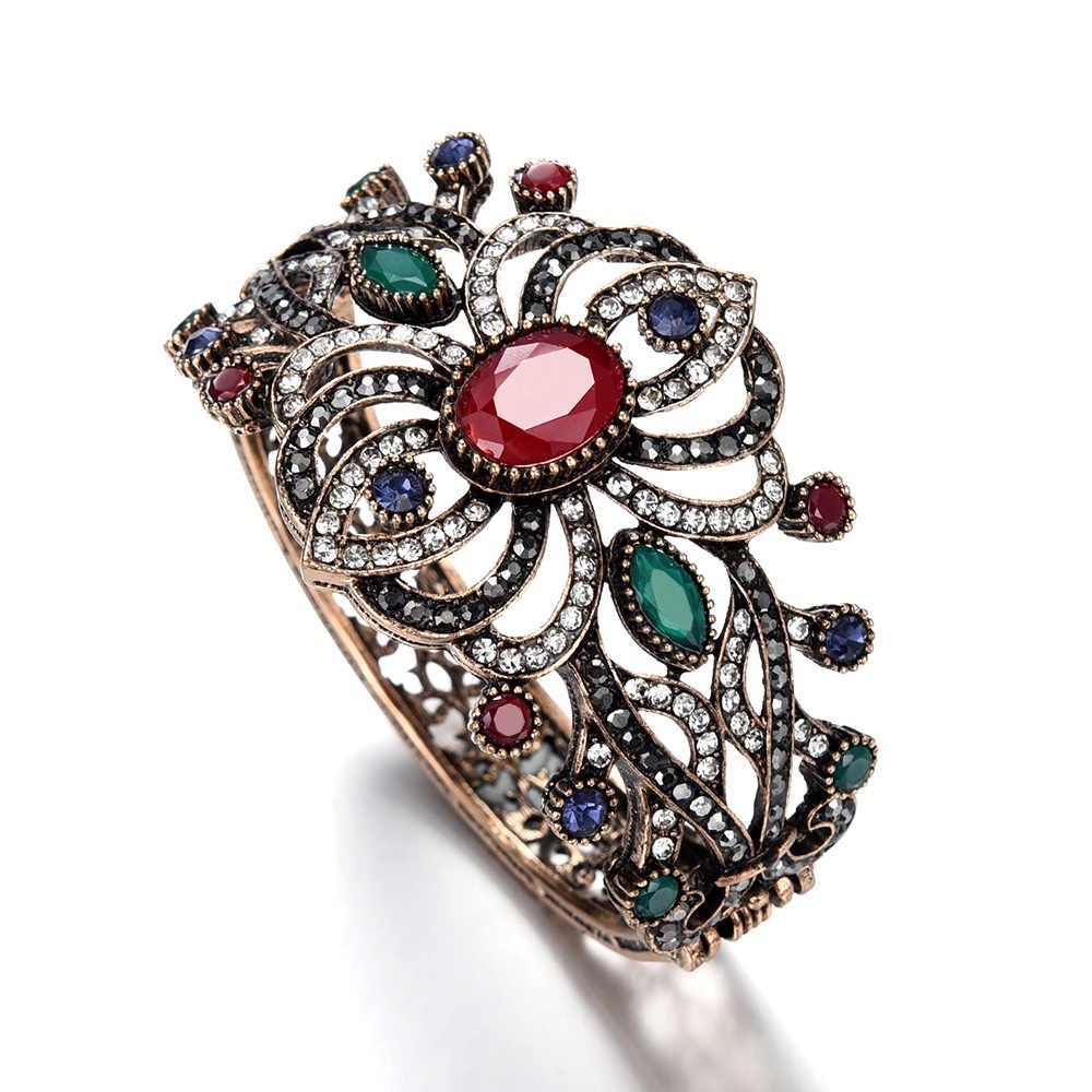ヴィンテージ透かしカフブレスレット & バングル女性の青赤クリスタルエスニックスタイルビッグワイド声明レトロ宝飾