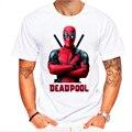 Nuevo 2016 hombres moda de manga corta lindo deadpool impreso camiseta de la marca de clothing camisetas divertidas inconformista o-cuello tops frescos