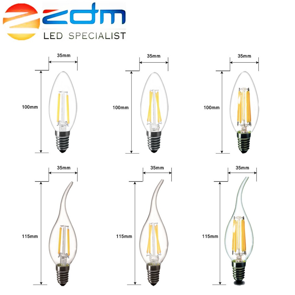 ZDM 2W 4W 6W Edison vintage bulb LED lamp E14 LED E27 Filament Light lamp Bulbs 220v LED E14 C35 E27 A60 decorative 1x new design led filament e14 bulb dmimable 2w 4w 6w ac 220v 230v lamp edison glass candle lights lighting for chandelier