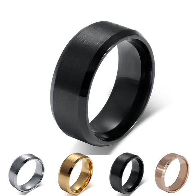 Fashion Silver Black Gold Men Ring Stainless Steel Jewelry Whole Wedding Rings Size 5