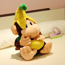 Holiday sale 60cm super cute cartoon eat bananas monkey hold pillow cloth plush animal doll stuffed
