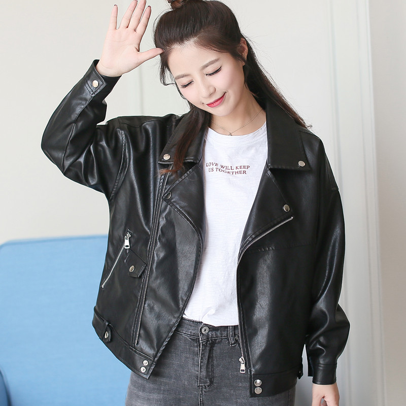 Loose plus size   leather   coat Autumn cool jacket casual black oversize jacket spring Bomber autumn Bomber Motorcycle Outerwear