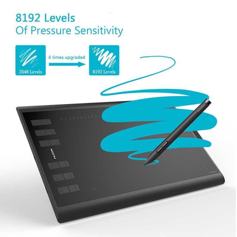 HUION NUOVO 1060 Più di 10x6.25 pollici Grafica Disegno Tablet Digital Pen Tablet con 8192 Livelli di 8 GB SD carta e Pellicola di Trasporto