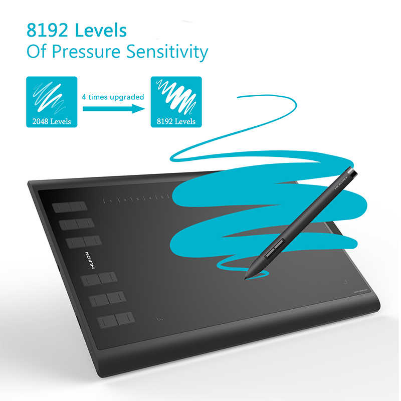 Huion Baru 1060 Plus 10X6.25 Inci Grafis Menggambar Tablet Digital Pen Tablet dengan 8192 Tingkat 8 GB Sd kartu dan Film Gratis