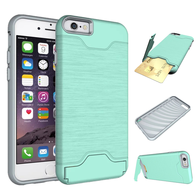 Wallet Kickstand Bracket Credit Card Slot Phone Case For iPhone 6s plus Case  with card holder Anti-knock phone Bag Cases Covers 29392858a