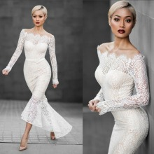 White Lace Long Sleeve Off Shoulder High Low Mermaid Wedding Bodycon Dress
