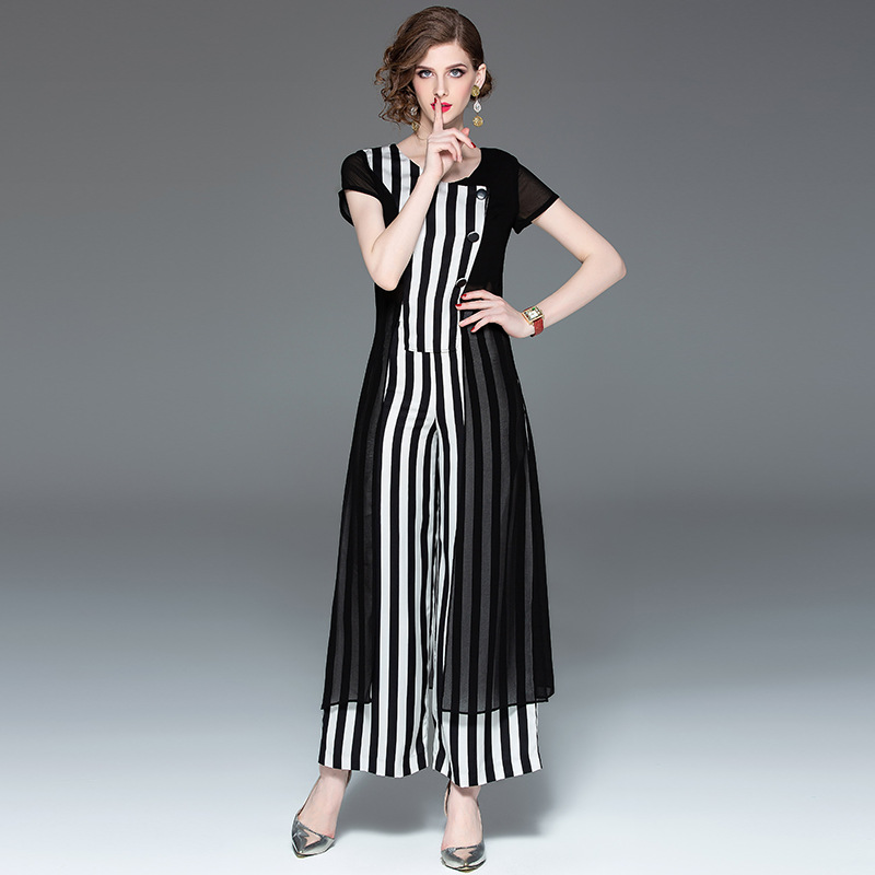 f17839e8dd71 Nuova Speciale collo Nero Da 2019 Modo Pezzi Donna Di Pantaloni Due Il O  Banda Offerta A T906166 Abbigliamento Ampiogambe Vestito ...