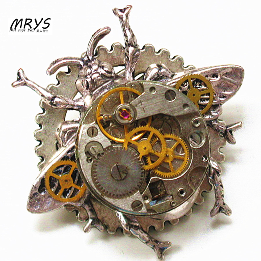 steampunk gothic punk rock honey bee watch parts collar brooch pins pendant chain choker charm women vintage handmade jewelry