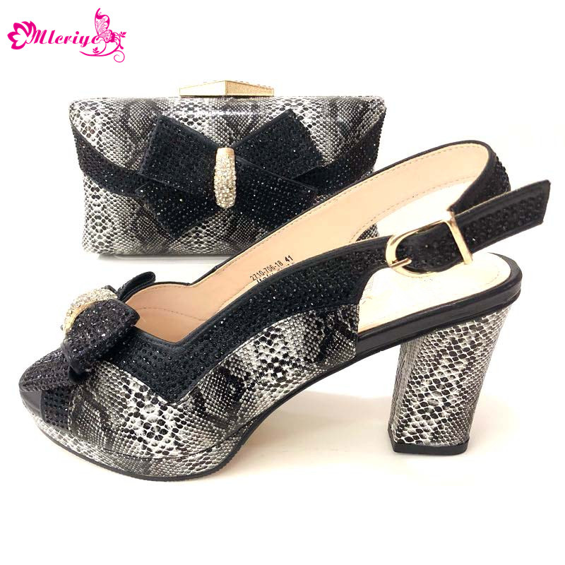 Hot Sale Woman Pretty black Color Italian Shoes And Bag Set Africa Rhinestone Low Heels Shoes And Bag Set For Wedding