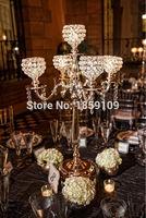 10pcs/lots/Golden 5 arms wedding centerpiece/ crystal wedding decoration/elegant crystal wedding voltive 78CM tall