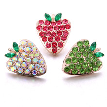 10pcs/lot New 18mm Snap Jewelry Fruit Strawberry Rhinestone Snap Button for 18mm Snap Bracelets Necklaces DIY Jewelry