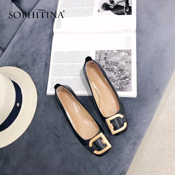 SOPHITINA New Women s Pumps Comfortable Genuine Leather Spring Autumn Fashion Metal Decoration Shoes Handmade Casual SO83