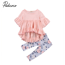 Хлопковая Футболка Топ, штаны с короткими рукавами комплект одежды из 2 предметов с цветочным принтом для маленьких девочек, комплекты одежды