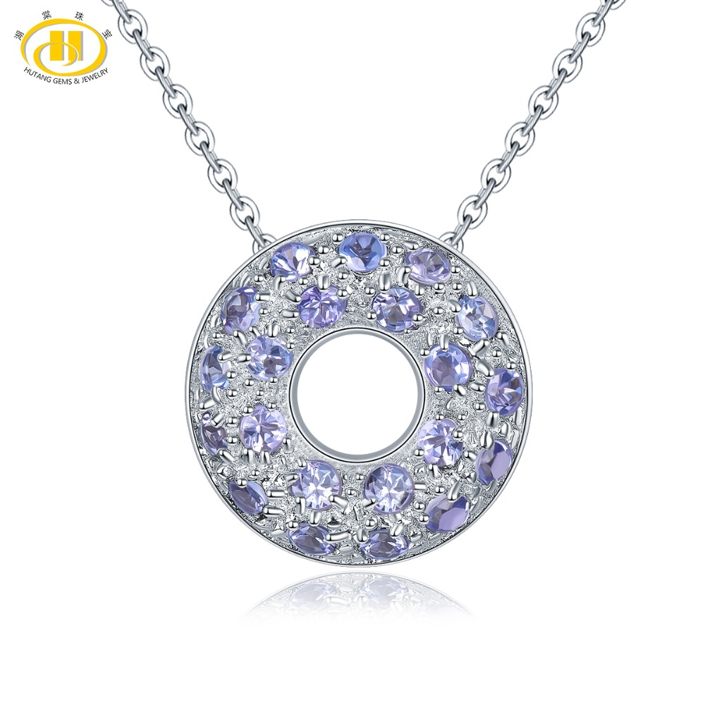 Hutang Natural Tanzanite Coin Pendant Solid 925 Sterling Silver Necklace Gemstone Fine Elegant Jewelry for Women