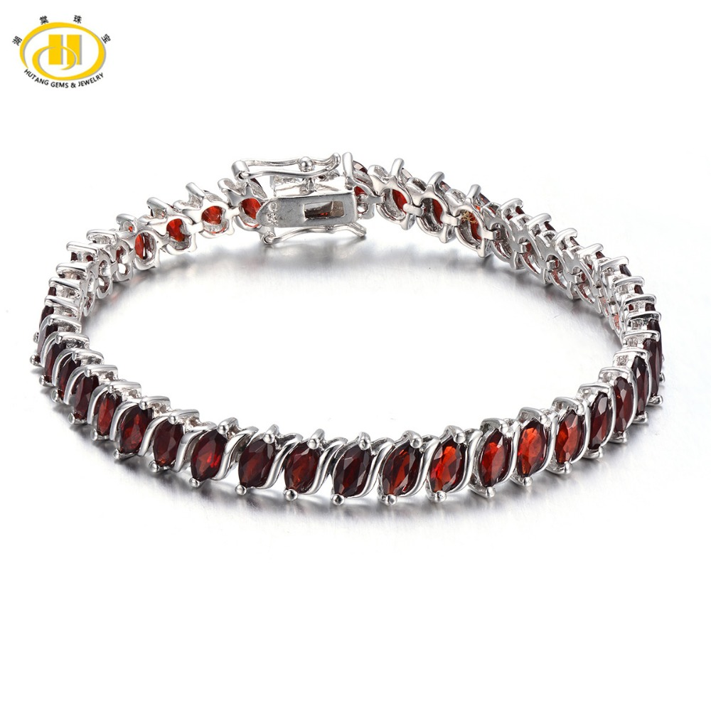 Hutang Siver 925 Bracelets & Bangles Fine Jewelry 11.52Ct Natural Garnet Wrap Bracelet for Women Red Real Diamond-Jewelry 2017 4 6mm natural garnet wrap bracelet silver red wine charms bracelet round beads bracelets for women