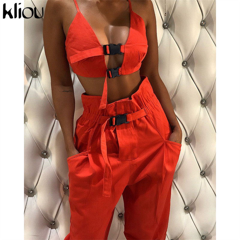 Kliou Sexy Crop Top Strap Button Fly Women Two Pieces Sets New Arrival Solid Female Casual Pants Button Pockets Tanksuits
