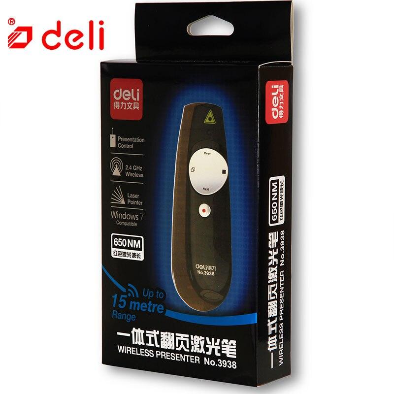 Deli rouge lumière laser pointeur RF2.4GHz sans fil présentateur professionnel laser stylo utiliser 2 * AAA batterie pour enseignement pointeur laser 15 m