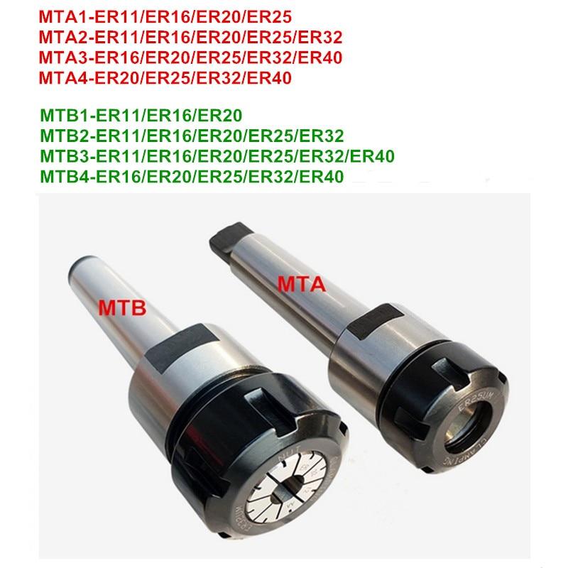 1 pc MTB/MTA/MT1/MT2/MT3/MT4 Morse taper ER11/ER16/ER20 /ER25/ER32/ER40 collet chuck Titular CNC titular ferramenta braçadeira